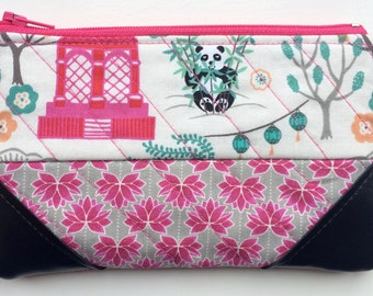 Quilted Coin Purse, Small Pouch, Card Pouch, Small Zipper Pouch, Patchwork, Panda