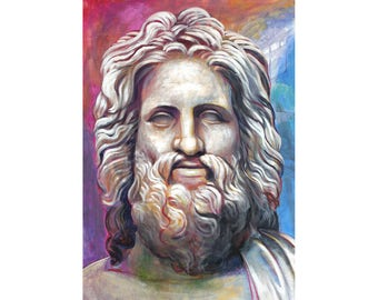 Zeus of Otricoli Inspired Painting Roman Greek Period Ancient Greek Sculptures Head of God Hellenistic Art Capitoline male Head Sculpting