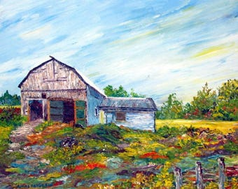 Figurative art | Oil on canvas | Abstract Texture | Colours | Barn | Nature