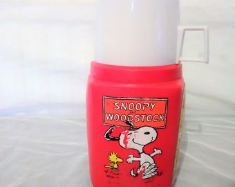 Vintage SNOOPY and WOODSTOCK Roughneck THERMOS Flask