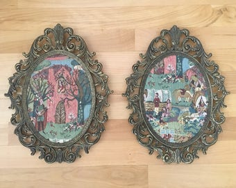 Two Framed Renaissance Style Tapestry Scenes