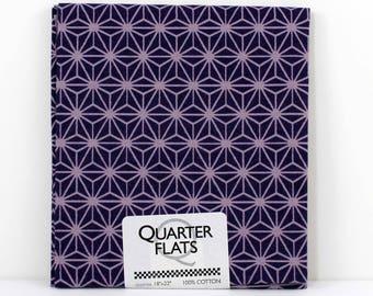 Fat Quarter Fabric, Purple Geometric Stars, 100% Cotton Fabric, One Fat Quarter, 18in x 22in, Quilting Sewing Fabric, Quarter Flats