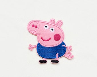 1x PEPPA PIG - little brother George patch custom Iron On Embroidered Applique cartoon pink blue fun kid