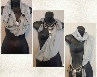 GRAY Scarf Wrap Necklace - Scarves - Wrap - Handmade - Fashion