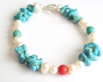 Bracelet beads natural coral red white turquoise howlite stones silver relaxing insomnia spiritual ambition patience power