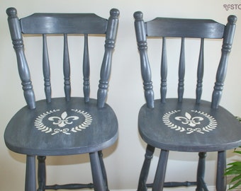 SOLD French Provincial Style Stencilled Barstools