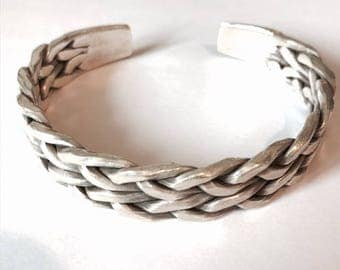 Sterling Silver Handmade Braided Bangle