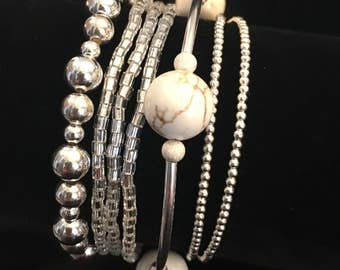 Bundle Of Beautiful Bracelet Sterling Silver White Turquoise and Seed Beads Four Separate Pieces Worn Together