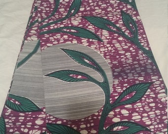 Purple & Green Wax Print/African Print/Ankara (6 yards)
