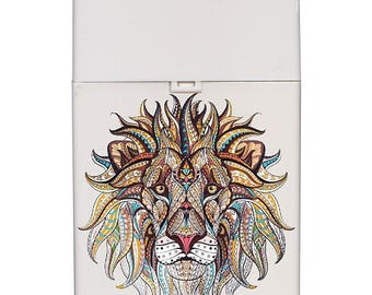 Handmade custom plastic cigarette case box with personalized stylish pattern any text message chic logo lion animals elegant vintage design