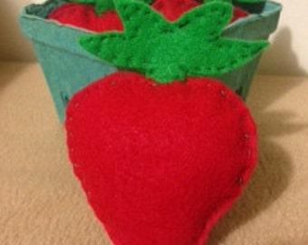 Felt Play Food- Strawberry Basket Bundle