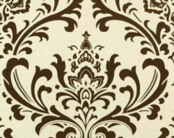 Chocolate Brown Traditional Damask Fabric by Premier Prints no.155