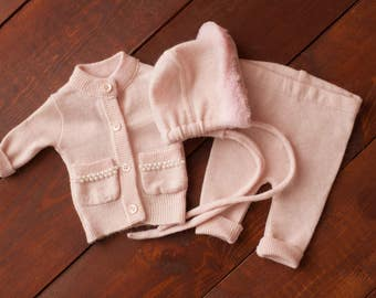 Newborn girl HAT and PANTS and Jacket with furs and pearls (Micah) - photography prop - pink