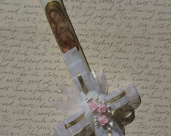 "Baptism / First Communion candle, 14"" tall, hand painted details, personalized, cross shaped bow."