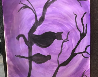 Cat and bird tree branch on paper