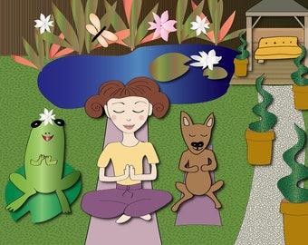 Summer Yoga with pets Art Print A4 children illustration girls