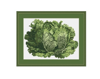Head of Lettuce cross stitch chart, lettuce pattern, instant download, PDF pattern, digital download