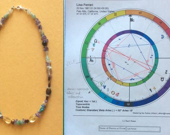 Medicine Necklace with Sidereal Natal Chart