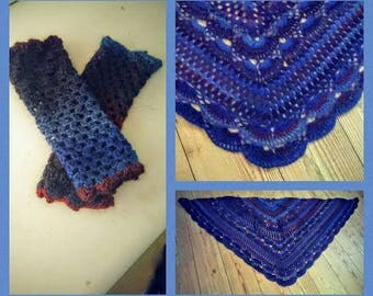 shawl and hand wrist warmers