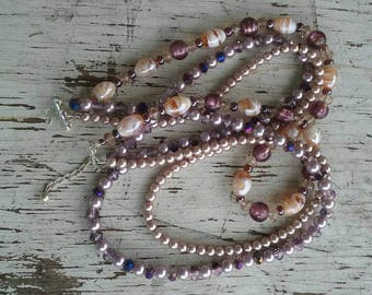 Impressive crystal and lampwork bead necklace