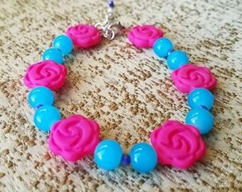 Hot Pink & Blue Spring Bloom Bracelet
