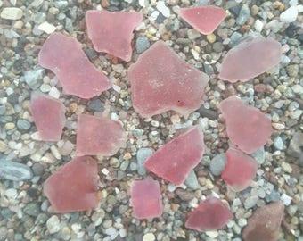 Craft quality sea worn pink sea glass genuine surf tumbled beach find craft