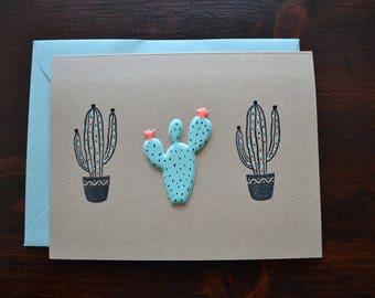 Cactus Handmade Blank Greeting Card