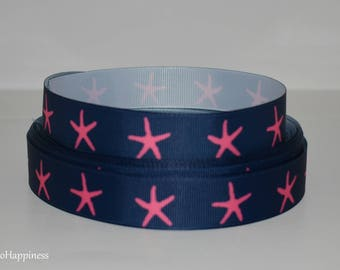 """Navy Blue with Pink Starfish 7/8"""" Grosgrain Ribbon 799"""