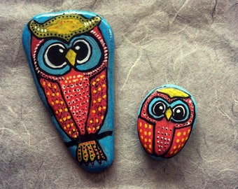 Hand painted Owl pebble fridge magnet, mother and baby