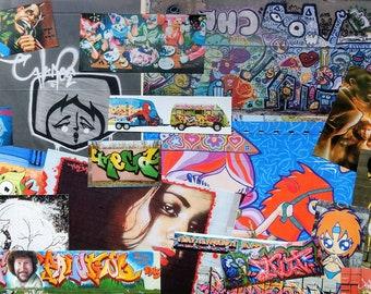 Modern Graffiti Edgy Street Art Upcycled Scraps Grab Bag for Scrapbooking, Junk Journalling, Collage