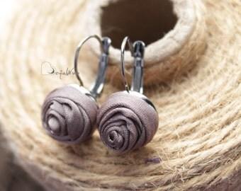 Fabric earrings Rose earrings Little aerrings Coffe textile earrings Fabric Flower earrings Floral jewelry Gift for her Small earrings