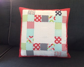 Cotton patchwork / quilted cushion / pillow as set of three but sold individually