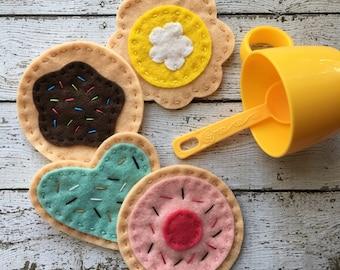 felt food cookie set, felt cookies, montessori toy, play food cookies, waldorf, tea party set, felt tea set