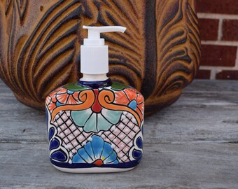 Talavera Ceramic Soap Dispenser Kitchen Patio Garden Pottery Mecican Decor Handpainted Handmade
