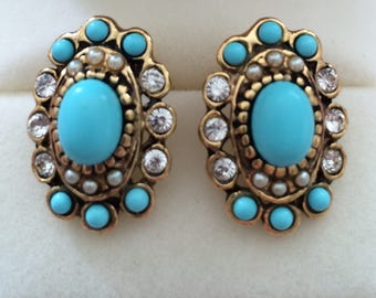Earrings with clip and turquois