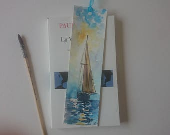 Bookmark in watercolor, original painting of a yellow yacht on the sea in the sunset