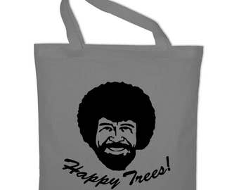 Happy little trees Bob Ross fabric cotton bag