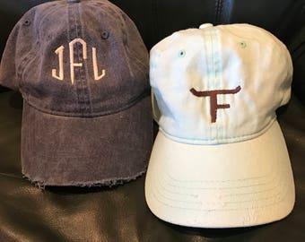 Distressed Monogrammed Caps - Sold Separately