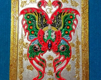 Thai Amulet: Spectacular Butterfly Yant   Amulet for Wealth & Prosperity by Ajarn Goy  !!FREE SHIPPING!