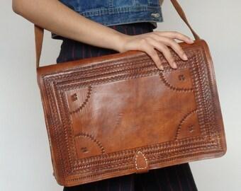 Embossed Leather Satchel / Messenger Bag / Handbag / Shoulder Bag / Handstitched