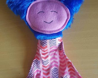Pink and blue rattle/squeaker soft toy