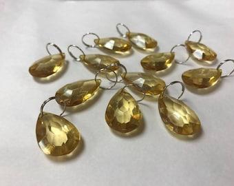 10 PK Olive Teardrop Crystals, acrylic wedding chandelier crystals