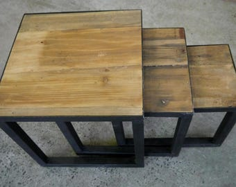 New Rustic Recycled Timber Industrial Metal Nesting Side Table