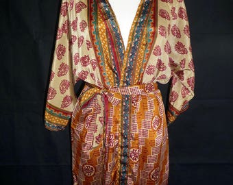 Kimono silk made saris recycled old vintage T M / L 38 / 40