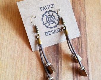 SALE Lucy Short Gray Dangle Bohemian Earrings, Natural Leather Cord, Mixed Metal Earrings, Boho Chic Earrings, Modern Boho Earrings