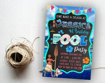 Moana Invitation, Moana Birthday, Moana Birthday Invitation, Moana Pool Party, Moana Pool Party Invite, Moana Pool Party Party Supplies