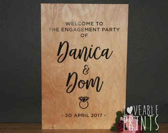 Engagement Welcome Sign   Engagement Signs   Wood Signs   Custom Wood Signs   Timber Sign   Party Signage