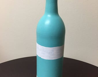 Striped Painted Wine Bottle