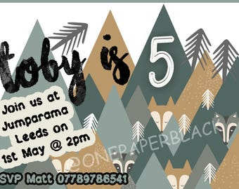 Children's birthday party invitation, E invite, ready to print, ready to email, customised age, boys, girls, fox, wolf wildlife theme