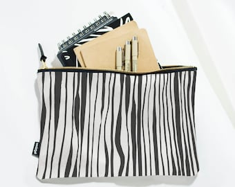 Striped Cosmetic Bag, Zipper Pouch, Black and White, Makeup Pouch, Makeup Bag, Travel Gift, Handbag, Cosmetic Pouch, Organizer Pouch
